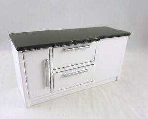 Dollhouse Miniature White Kitchen Counter with Black Top, T5526