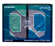 COPAG PLAYING CARDS - ACQUA TRANSPARENT 2 BRIDGE SIZE JUMBO INDEX - FREE S/H *