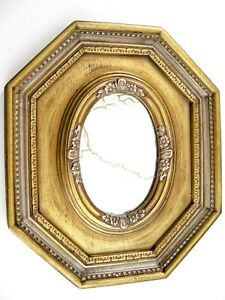 """VTG Oval Mirror in Ornate Octagonal Gold Frame Hang or Table Centerpiece 12x10"""""""