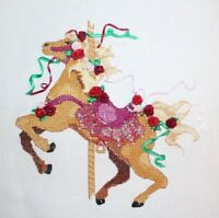Carousel Horse Roses Ribbons by Kay Jongsma Cross Stitch Completed Finished