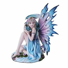 Spring Blue Purple Fairy With Dragon Statue Flower Meadow Figurine