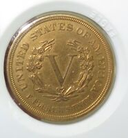 .STUNNING UNC GOLD PLATED 1883 US RACKETEER NICKEL.