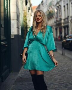 BNWT ZARA TURQUOISE SATIN PLAYSUIT WITH FULL SLEEVES SIZE XL