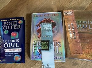 Artemis Fowl X 3, Signed By Eoin Colfer,1st/1st Editions, With Bookmarks /doodle