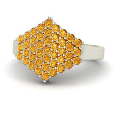 Certified 0.86Ct Citrine Real 14K White Gold Gemstone Cluster Ring Wedding Rings