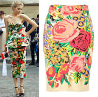 Palace Exquisite Floral Flower Rose Digital Print Midi Pencil Skirt Beige DG