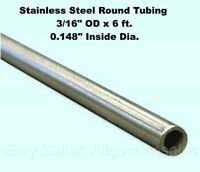 """Round Tubing 304 Stainless Steel 3//8/"""" OD x 6 ft Welded 0.319/"""" Inside Dia."""