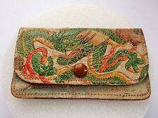 ANTIQUE 1920'S EMBOSSED ASIAN DRAGON FLORAL LEATHER COIN PURSE JAPAN RARE