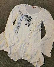 Womens Uk18 Joe Browns Blouses Top Clothes Tshirt Long Sleeve White Tunic Floral