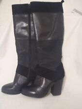 WITTNER 'RACKED' LEATHER & SUEDE ZIP-UP KNEE HIGH BOOTS - Size 37