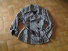 Veste Trench-coat court carreaux noirs et blancs T.42