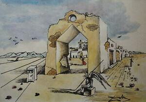 Rare & Unique original Gouache, painting, signed Salvador Dali w COA, docs.