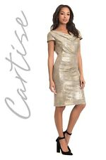 Cartise - Gold Knit Dress with Cowl Neckline