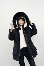 NEW Thick Women Big Real Fur Hood Real Down Parka Jacket Short Hood Coat