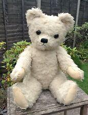 "Huge 30"" Chad Valley Cream Wool Plush Vintage Straw Filled Glass Eye Teddy Bear"