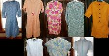 LOT w 8 VTG 50s 60s ROCKABILLY DRESS & BLOUSE TOP WAISTED GINGHAM SHEER GR8 COND