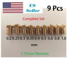 9 PCS 3D J-head Nozzle For 1.75 filament V6 Hotend Extruder Reprap Printer parts