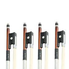 Lot4 x Black Handle Arbor White Copper Horsehair Violin Bow for 4/4 Size