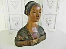 Rare! Large Vintage Hand Painted Chalkware Lady Head Bust~Maria Strozzi~Italy