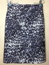 J Crew Pencil Skirt Wool Silk Blend Size 4 Watercolor Animal Purple Gray Ivory