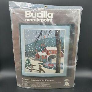 "Bucilla Needlepoint Kit ""First Snow"" #4200, 100% Persian Wool, Painted Canvas"