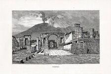 Stampa antica POMPEI veduta panoramica con Vesuvio Napoli 1880 Old print
