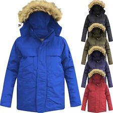 New Mens Parka Parker Padded Lined Winter Jacket Faux Fur Hooded Unisex Coat