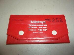 MITUTOYO RADIUS GAGE SET N0. 186-901 26 PIECE STAINLESS STEEL JAPAN