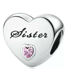 🇬🇧💜💜925 STERLING SILVER SISTER HEART CHARM WITH PINK CZ & POUCH