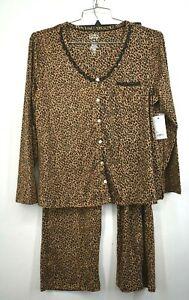 Croft & Barrow Women Button-Up Leopard Print Long Sleeve Pajama Pants 2 Piece PL