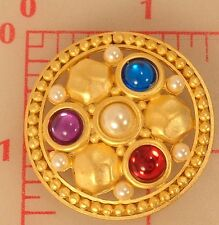 """Extra large matte gold metal shank button red purple blue pearl stones 1.5"""" 38mm"""