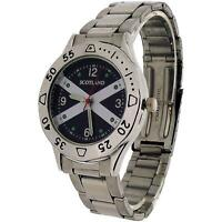 Boxx Scottish Flag Metal Bracelet Watch Blue Cufflinks Mens Gift Set