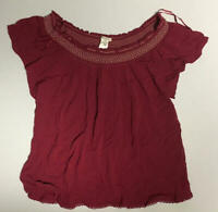Self E Juniors Short Sleeve Ruffle Neck Top Red Size Large L