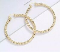 18k Layered real gold filled Round hoop earrings 80mm×4mm
