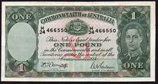 1942 Australia £ 1 libras billete * H/24 466550 * Vf * P-26b *