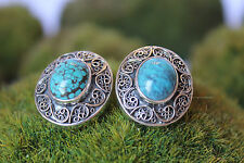 Sterling Silver .925 Hand Crafted Turquoise Cabochon Filigree Earrings