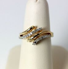 Beautiful Vermeil Diamond Cross-Over Cocktail Ring Size 6.75 - 2189