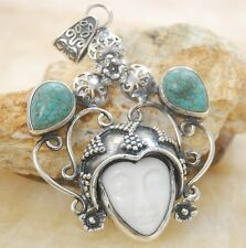 Huge Carved face White ceramic & turquoise gemstone silver pendant Jewelry BP101