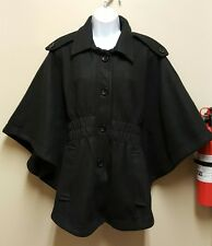 Staccato MEDIUM LARGE Black Poncho Cape Soft Fleece Coat Jacket Lined