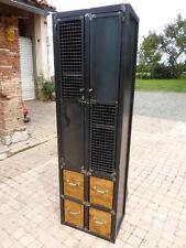 Armoire 2 portes 4 tiroirs industrielle fabrication sur mesure meuble bois metal