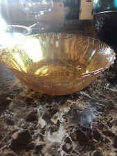 Mosaic Art Glass Decorative Iridescent Amber Gold Tone Bowl