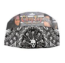 Black Skull Rhinestones Chop Top Biker Headband Bandanna Sweatband Head Wrap