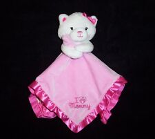 Magic Years I Lovey Mommy Baby Blanket Pink Kitty Cat Kitten Heart Satin Lovey
