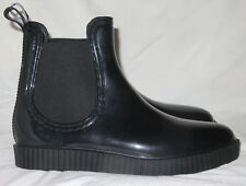 Dizzy Stretch Black Rain Platform Wedge Boots US 9.5 EU 40 NEW