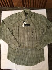 Van Heusen Green Checked Classic Fit Long Sleeve Dress Shirt Size S (14- 14 1/2)