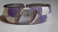 Designer  Look Rhinestones Silver finish fashion bangle Women's dressy watch