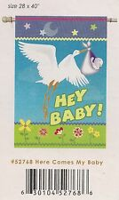 Here Comes My Baby Embroidered House Flag by Premier Designs #2768,  28x40 LAST!