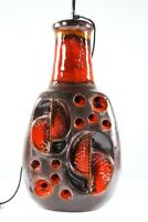 Boden Leuchte Keramik Fuß Lava Lasur Steh Lampe Orange 70er Jahre WGP