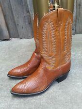 DAN POST Mens Exotic Cognac Teju Lizard Cowboy Boots sz 13D