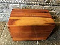 "Vintage Cedar Wood Index Card Box For 3"" X 5"" Cards-4134"
